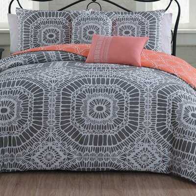 Petra 5 Piece Duvet Cover Set Size: Full/Queen, Color: Gray