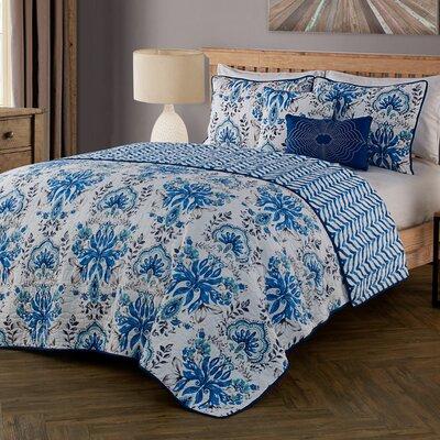 Tabitha 5 Piece Quilt Set Color: Blue, Size: Queen