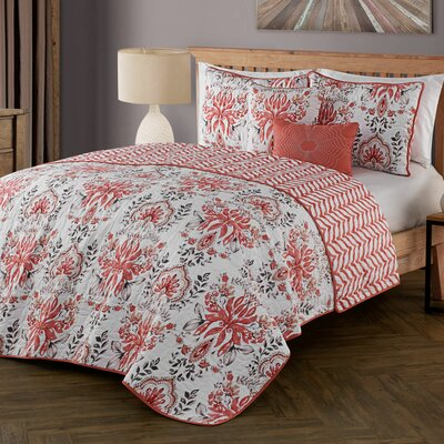 Tabitha 5 Piece Quilt Set Color: Spice, Size: Queen