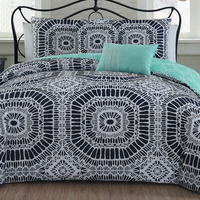 Petra 5 Piece Duvet Cover Set Size: Full/Queen, Color: Navy