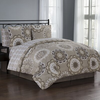 Elsa 8 Piece Reversible Bed in a Bag Set Size: Queen, Color: Taupe