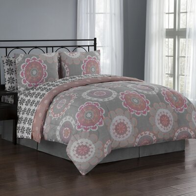 Elsa 8 Piece Reversible Bed in a Bag Set Size: Queen, Color: Coral