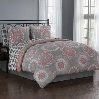 Elsa 8 Piece Reversible Bed in a Bag Set Size: King, Color: Coral