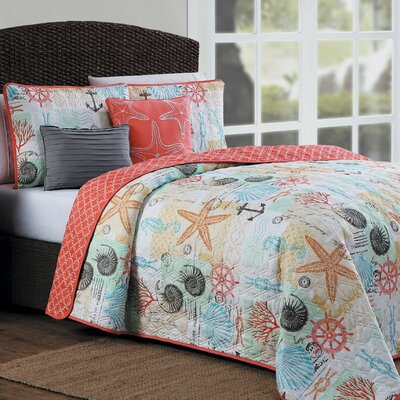 Clarendon 5 Piece Reversible Quilt Set Size: King
