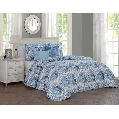 Annette 5 Piece Reversible Quilt Set Color: Blue, Size: King