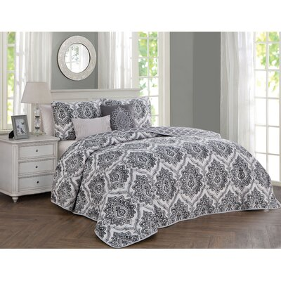Annette 5 Piece Reversible Quilt Set Size: King, Color: Gray