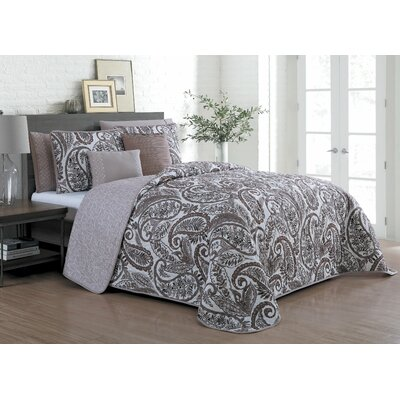 Wardell 7 Piece Reversible Quilt Set Size: King, Color: Taupe