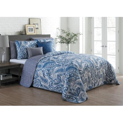 Wardell 7 Piece Reversible Quilt Set Color: Blue, Size: King