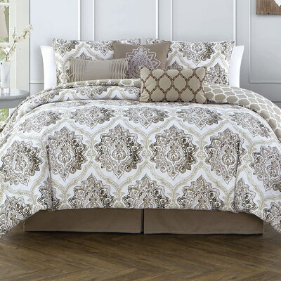 Bridgeforth 7 Piece Reversible Comforter Set Color: Taupe, Size: Queen