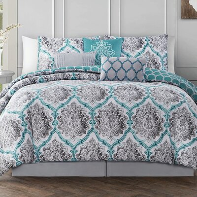 Bridgeforth 7 Piece Reversible Comforter Set Color: Teal/Gray, Size: Queen