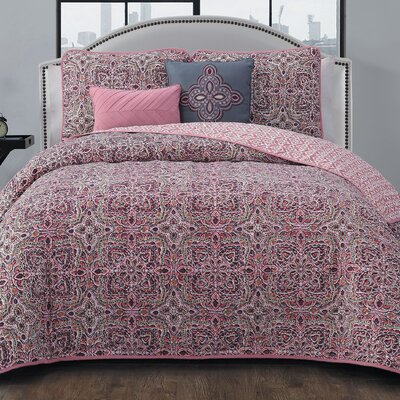 Brookman 5 Piece Reversible Quilt Set Color: Blush, Size: Queen
