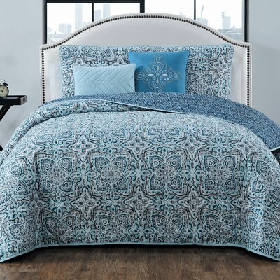 Brookman 5 Piece Reversible Quilt Set Color: Blue, Size: Queen