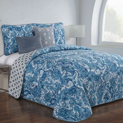 Thornburg 5 Piece Reversible Quilt Set Color: Blue, Size: Queen