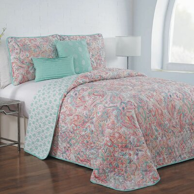 Thornburg 5 Piece Reversible Quilt Set Color: Pink, Size: Queen