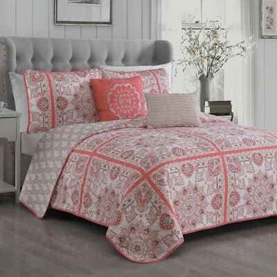 Cilla 5 Piece Reversible Quilt Set Size: Queen