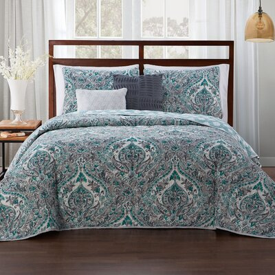 Estee 5 Piece Reversible Quilt Set Size: King, Color: Teal