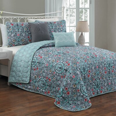 Cia 5 Piece Reversible Quilt Set Size: King, Color: Teal
