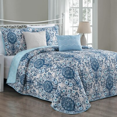 Cia 5 Piece Reversible Quilt Set Color: Blue, Size: Queen