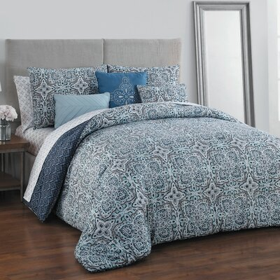 Brookman 9 Piece Reversible Bed-In-a-Bag Set Color: Blue, Size: Queen