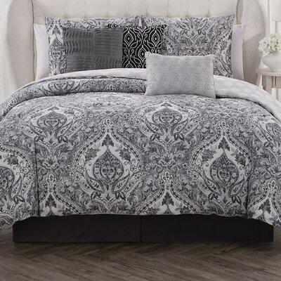 Estee 7 Piece Reversible Comforter Set Color: Gray/Black/White, Size: King