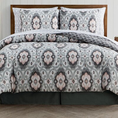 Harriett 8 Piece Reversible Bed-In-a-Bag Set Size: King, Color: Gray