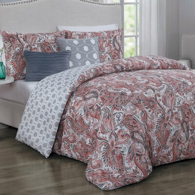 Thornburg 5 Piece Reversible Comforter Set Size: King, Color: Coral/Blue/Gray