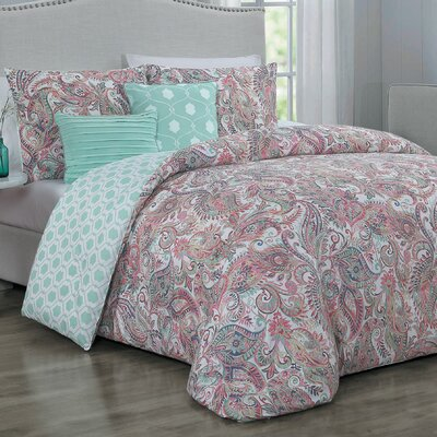 Thornburg 5 Piece Reversible Comforter Set Size: Queen, Color: Green/Red/White