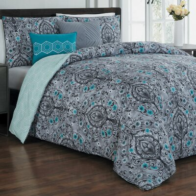 Cia 5 Piece Reversible Comforter Set Color: Teal/Gray/Black, Size: King