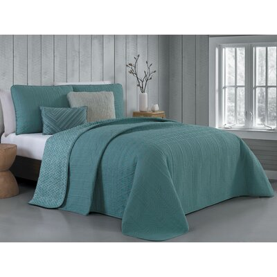 Hutton 5 Piece Reversible Quilt Set Size: Queen, Color: Teal