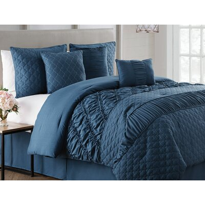 Makenna 7 Piece Reversible Comforter Set Size: King, Color: Blue