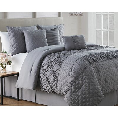 Makenna 7 Piece Reversible Comforter Set Size: King, Color: Gray