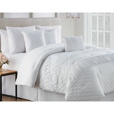 Makenna 7 Piece Reversible Comforter Set Size: King, Color: White