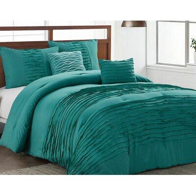 Tegan 5 Piece Reversible Comforter Set Size: King, Color: Teal