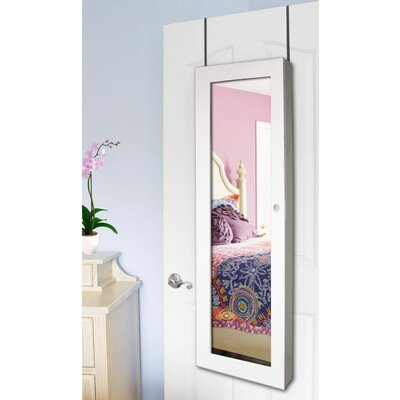 Over The Door Jewelry Armoire with Mirror Color: White