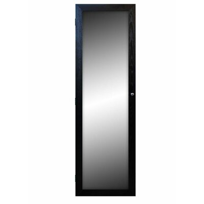 Over The Door Jewelry Armoire with Mirror Finish: Black