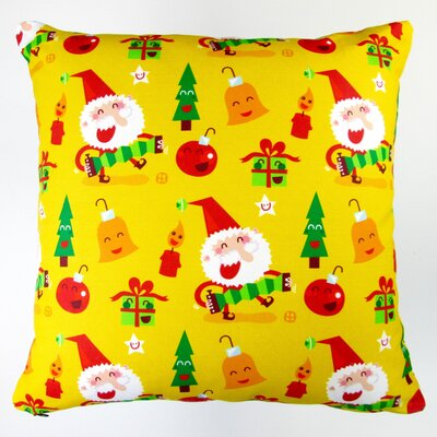 Christmas Happy Xmas Santa and Ornaments Throw Pillow