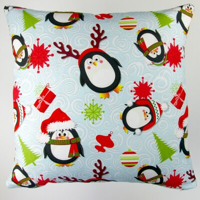 Christmas Holiday Penguins Throw Pillow Cover