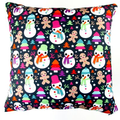 Christmas Snow Man and Ginger Bread Throw Pillow Cover