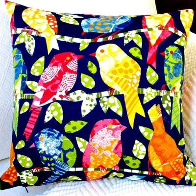 Kids Animals Colorful Birds Indoor/Outdoor Throw Pillow