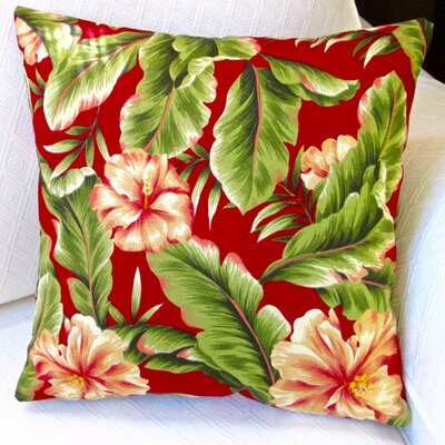 Hawaiian Tropical Island Beach House Hibiscus Flower Indoor/Outdoor Throw Pillow