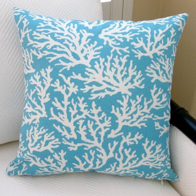 Coral in Pastel Beach House Modern Indoor/Outdoor Throw Pillow