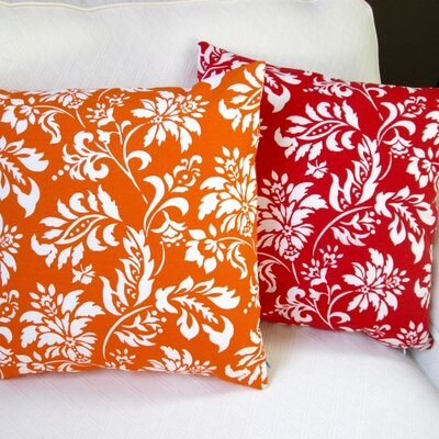 Wexford Geometric Floral Modern Indoor/Outdoor Throw Pillow Color: Berry