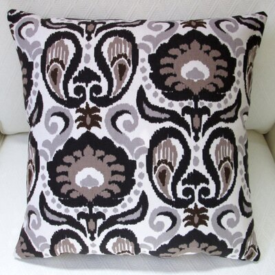 Grand Ikat Floral Modern Indoor Pillow Cover Color: Charcoal