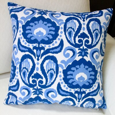 Grand Ikat Modern Floral Indoor Cotton Throw Pillow Color: Blue