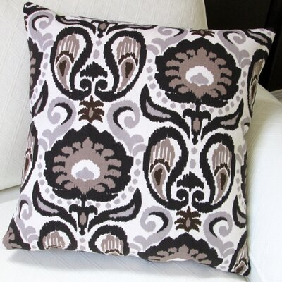 Grand Ikat Modern Floral Indoor Cotton Throw Pillow Color: Charcoal