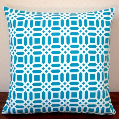 Vivid Lattice Indoor Cotton Pillow Cover Color: Teal Blue