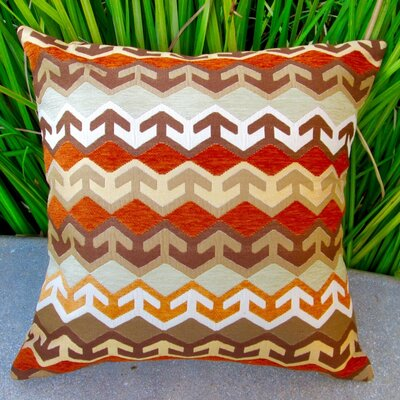 Geometric Arrow in Southwestern Country Cabin Indoor Cotton Throw Pillow Color: Orange