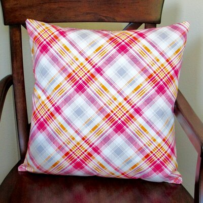 Notting Hill Plaid Tartan Indoor Cotton Throw Pillow Color: Pink
