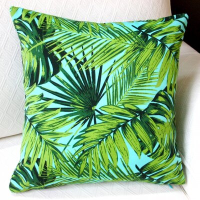 Tropical Fronds Modern Coastal Beach Hawaiian Indoor/Outdoor Pillow Cover Color: Blue