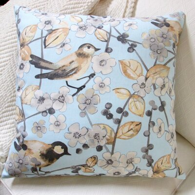 In the Air Songbird and Cherry Blossom Modern Indoor Pillow Cover Color: Blue/Brown/Off-White
